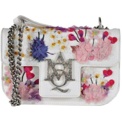 Alexander Mcqueen Small Embroidered Floral Leather Insignia Purse