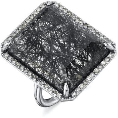 SHERYL LOWE DIAMOND RING BLACK TOURMALINATED RECTANGLE RING