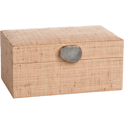MARCUS HOME DECORATIVE BOX BLUSH RAFFIA PALM BOX