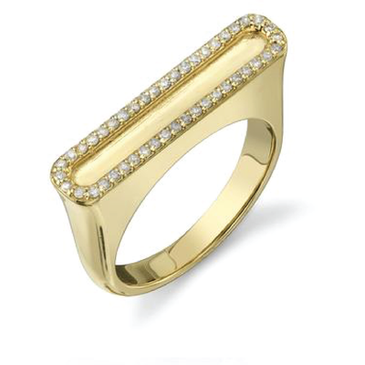SHERYL LOWE DIAMOND RING BORDER BAR RING