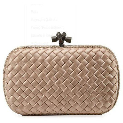 BOTTEGA CHAIN KNOT SATIN CLUTCH MINK