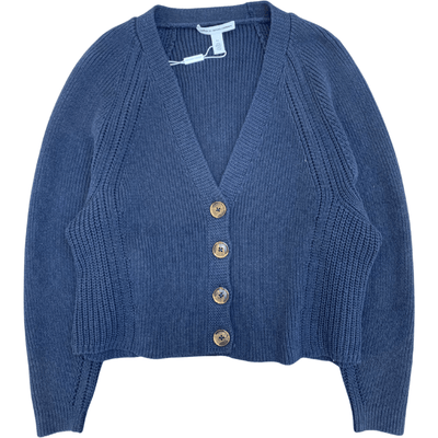 AUTUMN CASHMERE SWEATER BOXY V SHAKER CARDIGAN NAVY