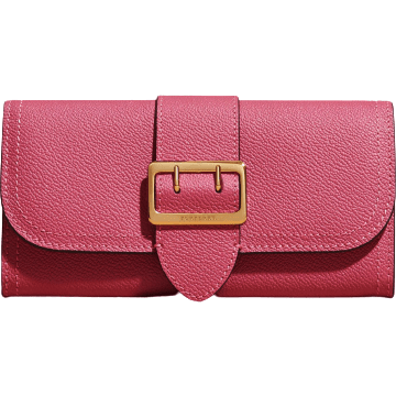 BURBERRY LX LIVE Burberry Buckle Detail Grainy Leather Wallet Pink Azalea