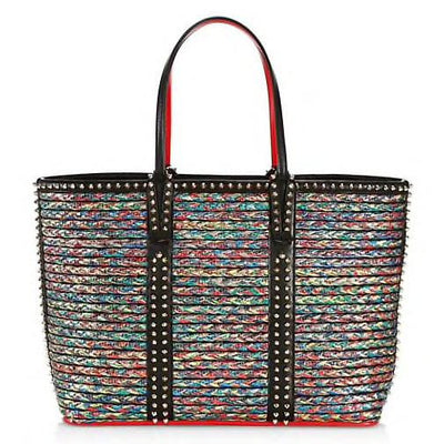 CHRISTIAN LOUBOUTIN LX LIVE CABATA LEATHER TRIM STRAW TOTE