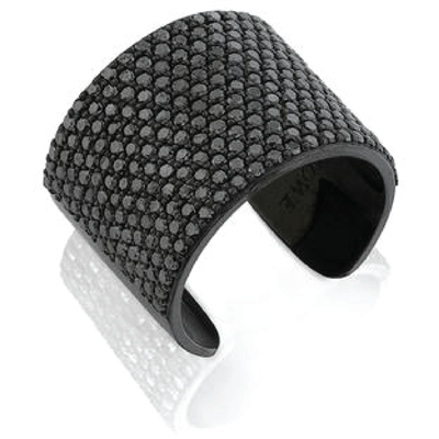 SHERYL LOWE DIAMOND RING CIGAR CUFF RING - BLACK