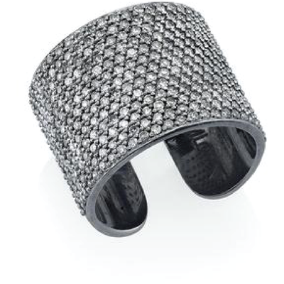 SHERYL LOWE DIAMOND RING CIGAR CUFF RING - SILVER