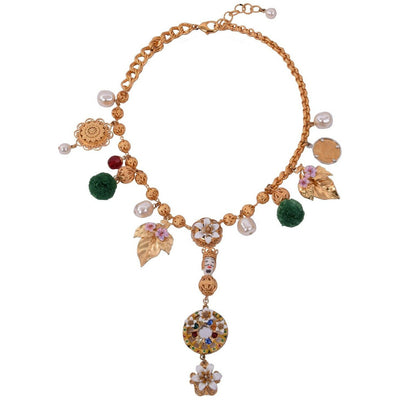 DOLCE & GABBANA LX JEWELRY D&G SICILIA COLLANA NECKLACE W/POMS GRN/GLD