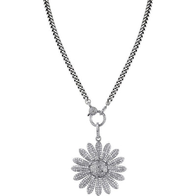 SHERYL LOWE DIAMOND NECKLACE DAISY PENDANT NECKLACE