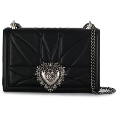 DOLCE & GABBANA LX LIVE DOLCE & GABBANA LARGE DEVOTION BAG IN BLACK