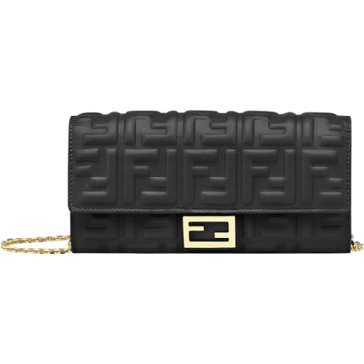 FENDI LX LIVE FENDI EMBOSSED WALLET CROSSBODY - BLACK