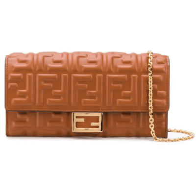 FENDI LX LIVE FENDI EMBOSSED WALLET CROSSBODY - COLONIALE