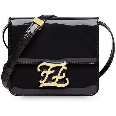 FENDI LX LIVE FENDI KARLIGRAPHY PATENT LEATHER SHOULDER BAG