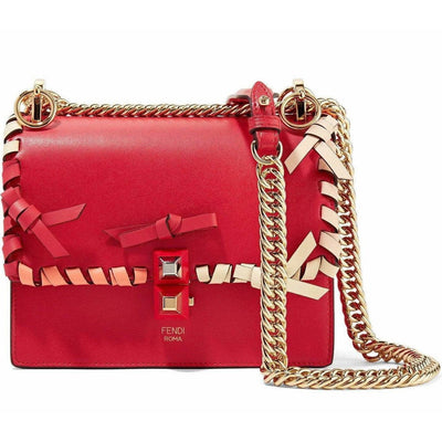 Fendi Red Kan Whipstitch Shoulder Bag