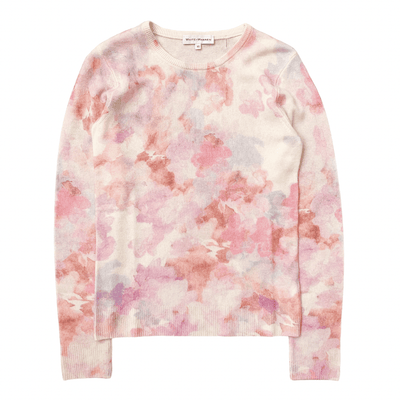 WHITE AND WARREN SWEATER FLORAL PRINTED CREWNECK WASHED PINK