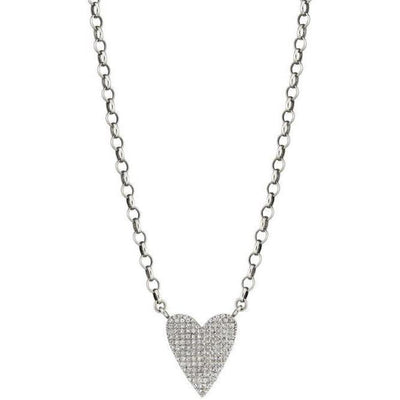 SHERYL LOWE DIAMOND NECKLACE FOLDED HEART BOX CHAIN NECKLACE