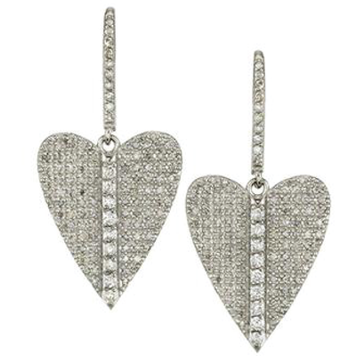 SHERYL LOWE DIAMOND EARRINGS FOLDED HEART HOOP EARRINGS