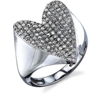 SHERYL LOWE DIAMOND RING FOLDED HEART RING