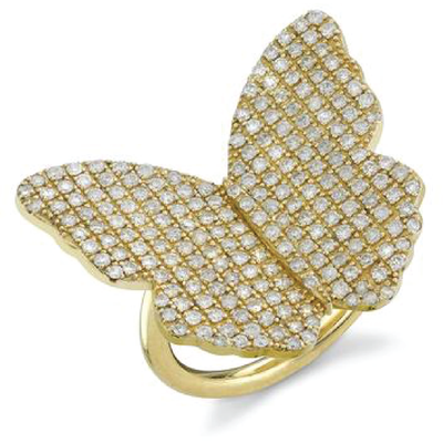 SHERYL LOWE DIAMOND RING GOLD BUTTERFLY RING
