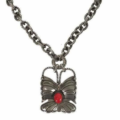 GUCCI Sterling Silver Red Coral Butterfly Necklace