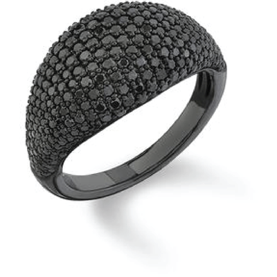 SHERYL LOWE DIAMOND RING JET BLACK SIGNET RING