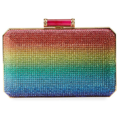 Judith Leiber Soho Rainbow Crystal Clutch Bag