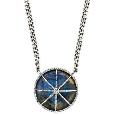 SHERYL LOWE DIAMOND NECKLACE LABRADORITE CIRCLE STAR CHAIN NECKLACE