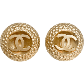 Large Round Gold Logo Earrings