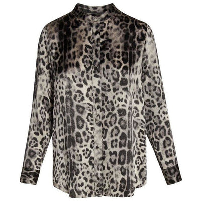 CATHERINE GEE BLOUSE LAURA SILK BLOUSE SNOW LEOPARD