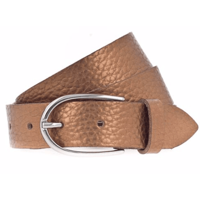 METALLIC LEATHER BELT WITH SILVER BUCKLE - COPPER - Shop Marcus