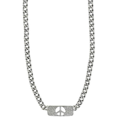 SHERYL LOWE DIAMOND NECKLACE PEACE BAR NECKLACE