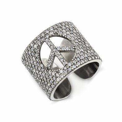 SHERYL LOWE DIAMOND RING PEACE CUFF RING