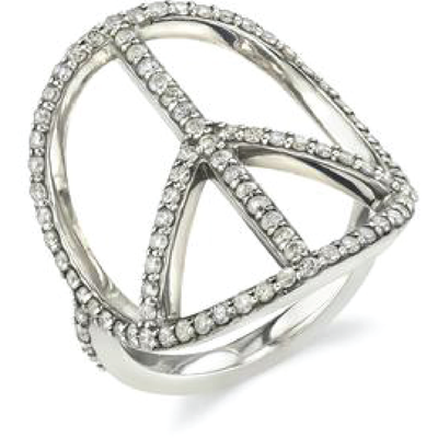 SHERYL LOWE DIAMOND RING PEACE RING