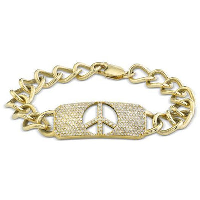 SHERYL LOWE DIAMOND BRACELET PEACE SIGN ID BRACELET