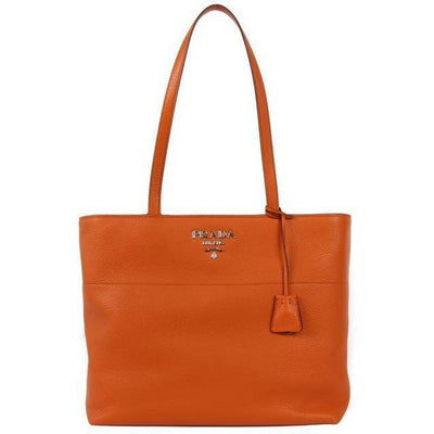 PRADA LX LIVE PRADA VITELLO PHENIX LEATHER TOTE - ORANGE