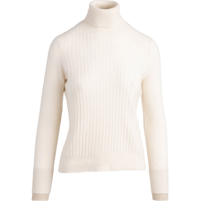 Ribbed Cashmere Turtleneck - Cream - Shop Marcus