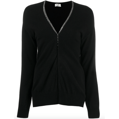 Saint Laurent Embellished Trim Cardigan - Shop Marcus