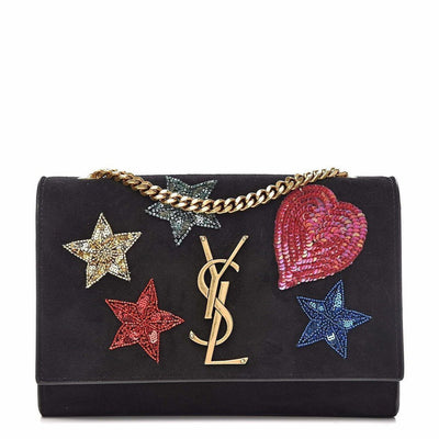 Saint Laurent Suede Embroidered Patches Small Kate Bag - Shop Marcus