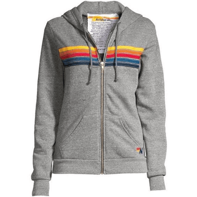 AVIATOR NATION SWEATSHIRT STRIPE ZIP HOODIE - HEATHER GREY