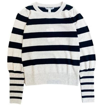 STRIPED PUFF SLEEVE CREW - AUTUMN CASHMERE