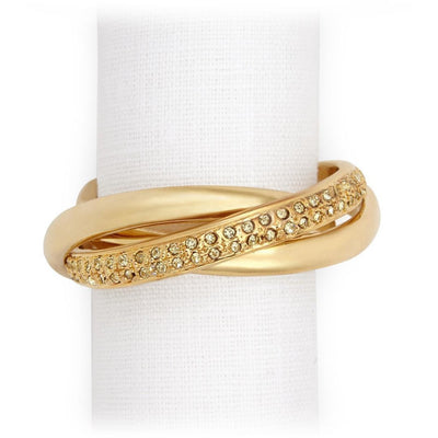 Three Ring Napkin Ring Gold/Crystal - Shop Marcus