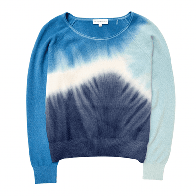 WHITE AND WARREN SWEATER TRI-DYE SWEATSHIRT BLUE COMBO