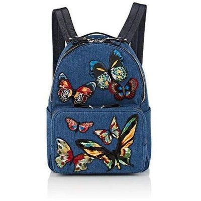Valentino Denim Embroidered Butterflies Backpack - Shop Marcus