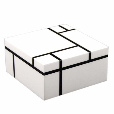 MARCUS HOME DECORATIVE BOX WHITE GRID BOX