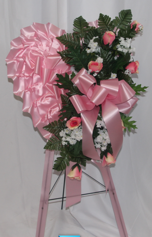 18'' Heart with Pink Roses in Silk