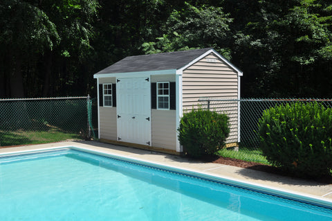 Chateau new england outdoor for Garden pool sheds