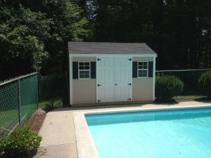 Image of new storage shed installed by New England Outdoor.