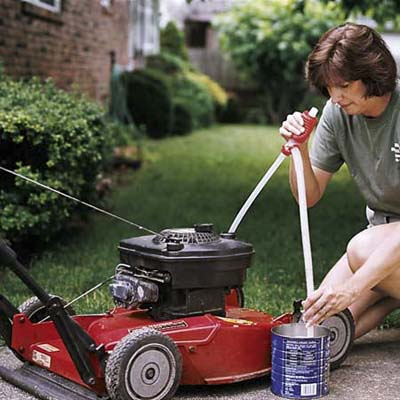 store lawnmower in outdoor shed