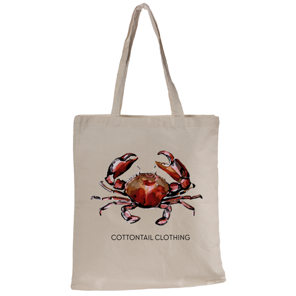 Cotton Tail Clothing - Cotton Tail Clothing, Canvas Tote kids clothes, Watercolor Crab Tote shirt