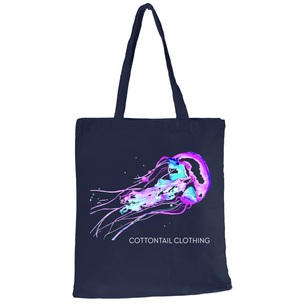 Cotton Tail Clothing - Cotton Tail Clothing, Canvas Tote kids clothes, Watercolor Jellyfish Tote shirt