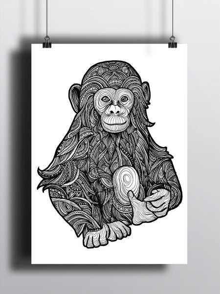 Chimpanzee A3 Print - Supreme Elements  - 2